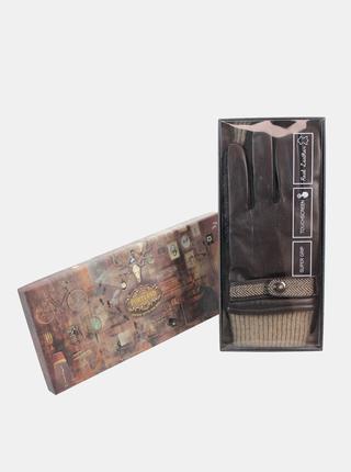 Hnedé pánske kožené rukavice Something Special