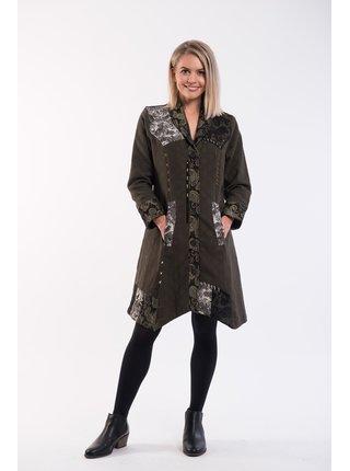 Orientique kabát Coat Asymetric Hem Olive