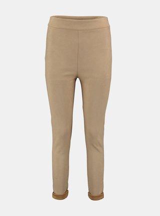 Béžové skinny fit nohavice v semišovej úprave Hailys