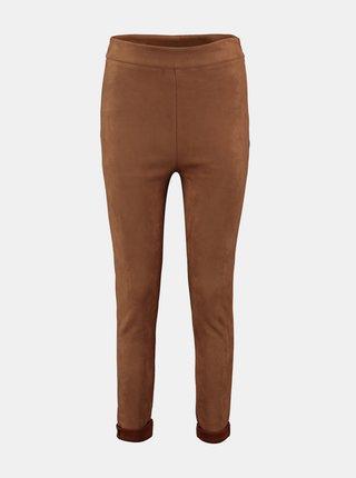 Hnedé skinny fit nohavice v semišovej úprave Hailys