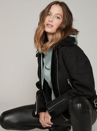Čierna zimná bunda v semišovej úprave Hailys