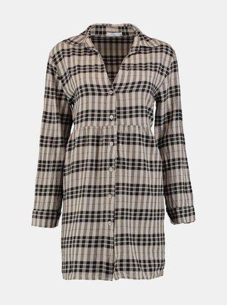 Béžové kockované košeľové šaty Hailys