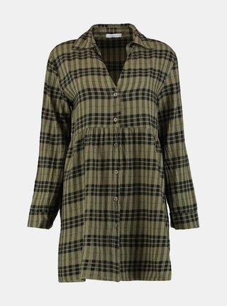 Kaki kockované košeľové šaty Hailys