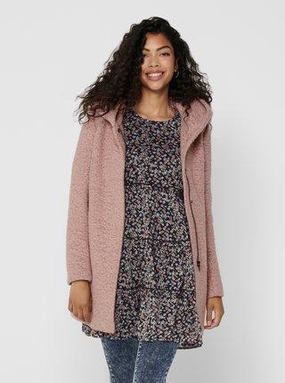 Růžový vlněný zimní kabát ONLY New Sedona