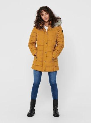 Horčicový zimný prešívaný kabát ONLY Luna