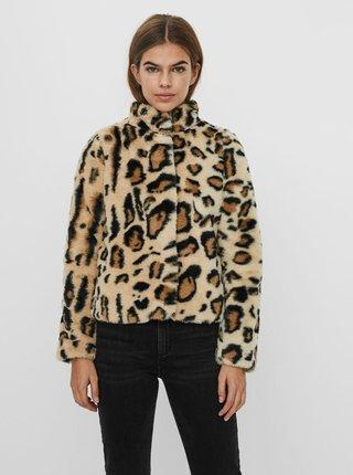 Hnědá vzorovaná bunda z umělého kožíšku VERO MODA