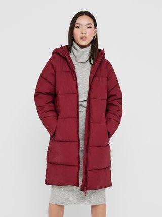 Vínový zimní kabát ONLY Sienna