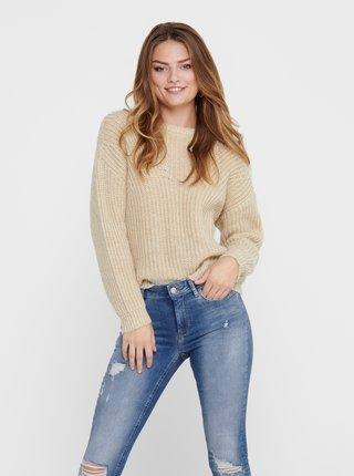 Béžový basic sveter ONLY Fiola