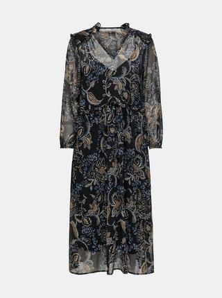 Čierne vzorované šaty ONLY Nana