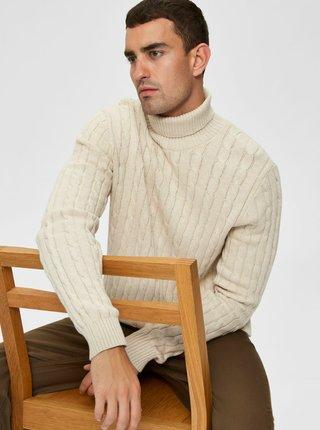 Krémový sveter s rolákom Selected Homme Ryan