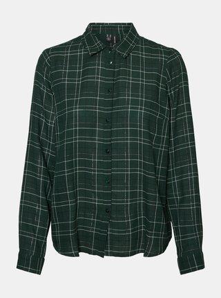 Tmavozelená kockovaná košeľa VERO MODA