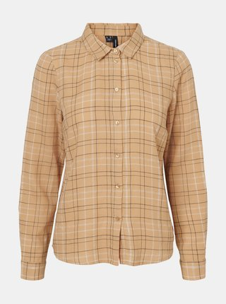 Béžová kockovaná košeľa VERO MODA