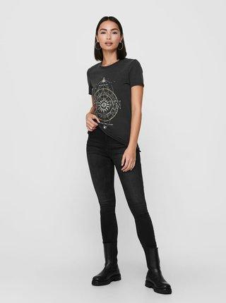 Černé tričko s potiskem ONLY Lucy