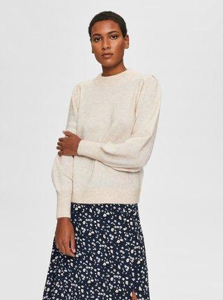 Krémový sveter s prímesou vlny z alpaky Selected Femme