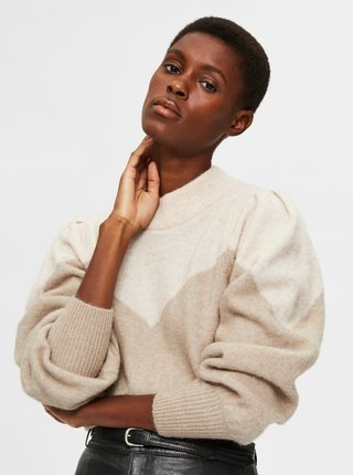 Béžový sveter s prímesou vlny z alpaky Selected Femme