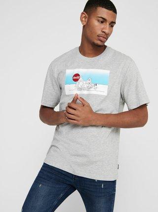 Šedé tričko s vánočním motivem ONLY & SONS Coca Cola