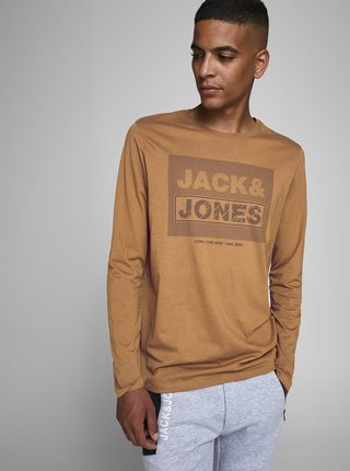 Hnědé tričko Jack & Jones Pendent
