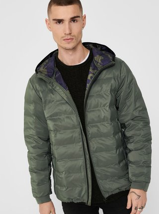 Kaki zimná prešívaná bunda ONLY & SONS