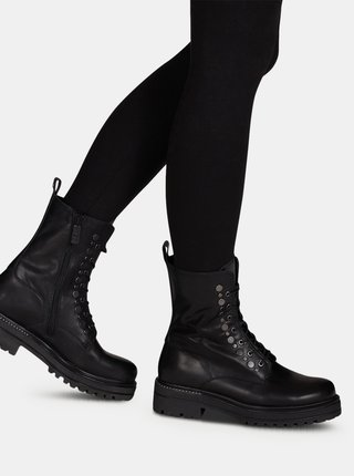 Černé dámské kožené boty Tamaris