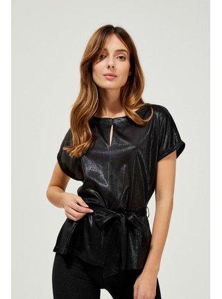 Moodo černé metalické tričko s vázankou