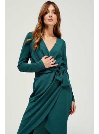 Moodo petrolejové šaty s vázáním