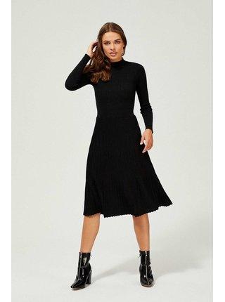 Moodo černé žebrované šaty s metalickými vlákny