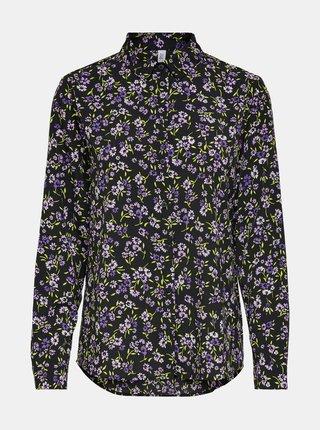 Čierna kvetovaná košeľa ONLY Tenna