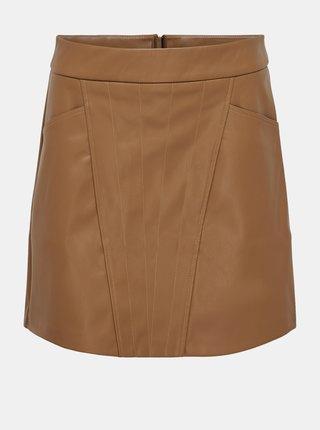 Hnedá koženková sukňa ONLY Naya