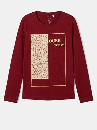 Vínové dievčenské tričko s potlačou name it