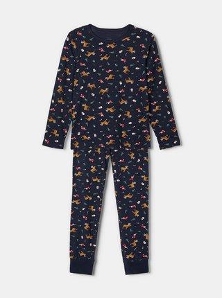 Tmavě modré klučičí pyžamo s vánočním motivem name it