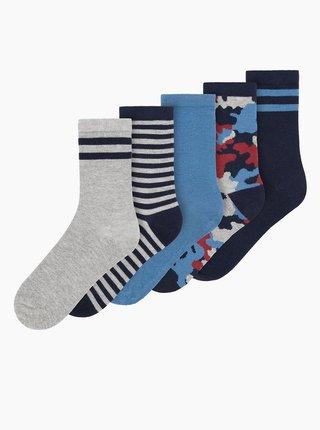 Sada piatich párov modrých chlapčenských ponožiek name it