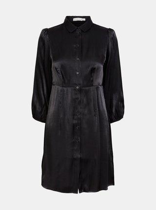 Čierne saténové košeľové šaty Pieces