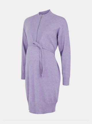 Fialové svetrové tehotenské/dojčiace šaty Mama.licious