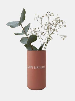 Staroružová váza Design Letters Happy Birthday