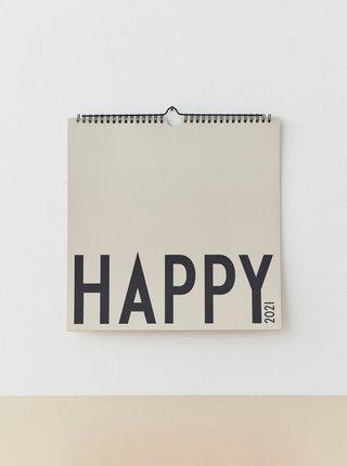 Šedý nástěnný kalendář na rok 2021 Design Letters
