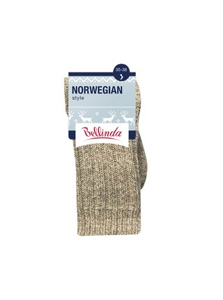 Ponožky NORWEGIAN STYLE SOCKS - Zimní unisex ponožky - béžová