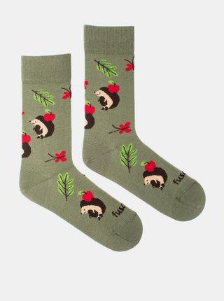 Zelené vzorované ponožky Fusakle Ježek
