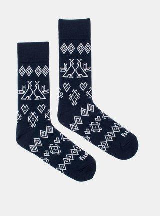 Tmavomodré vzorované ponožky Fusakle Modrotisk Čičmany
