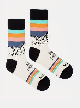 Krémové vzorované ponožky Fusakle Ráno na horách