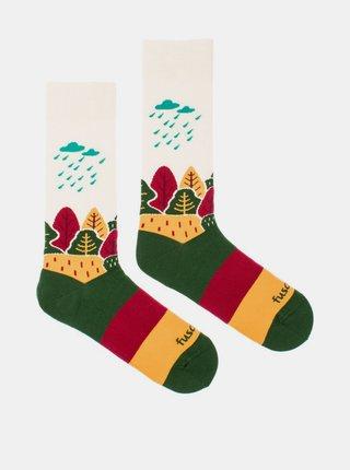 Krémovo-zelené vzorované ponožky Fusakle Naše krajina