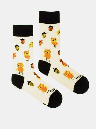 Krémové vzorované ponožky Fusakle Sova