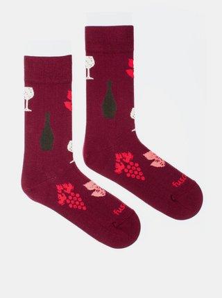 Vínové vzorované ponožky Fusakle Víno
