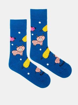 Modré vzorované ponožky Fusakle Zlaté prase
