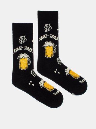 Čierne vzorované ponožky Fusakle Chmelová brigáda