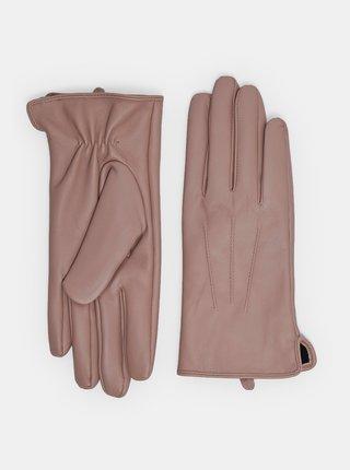 Světle růžové kožené rukavice Dorothy Perkins