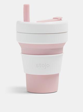Ružovo-biely cestovný skladací kelímok Stojo 470 ml