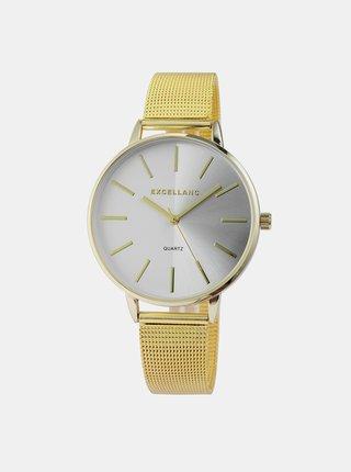 Dámske hodinky s nerezovým remienkom v zlatej farbe Excellanc