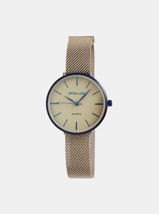Dámske hodinky s nerezovým remienkom v hnedej farbe Excellanc