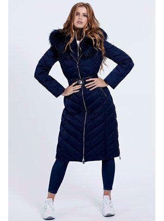 Guess modrý zimní kabát Belted Padded Long Jacket