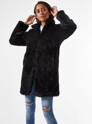Černý kabát z umělého kožíšku Dorothy Perkins Petite